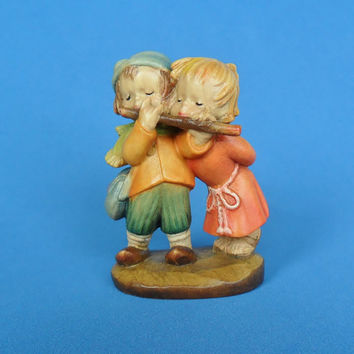 Anri Ferrandiz Duet Carved Wood Figurine Boy and Girl Playing Flute Flotist Collectible Musical Couple Wooden Carving