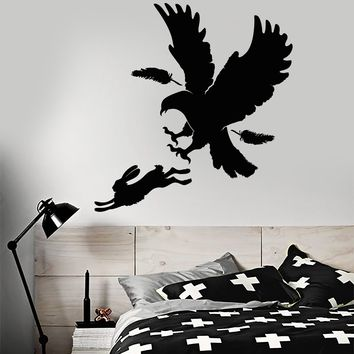 Vinyl Wall Decal Predator Bird Feather Eagle Hare Rabbit Hunting Stickers (2734ig)