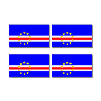 Cape Verde Cabo Bandeira Country Flag Sheet of 4 Stickers