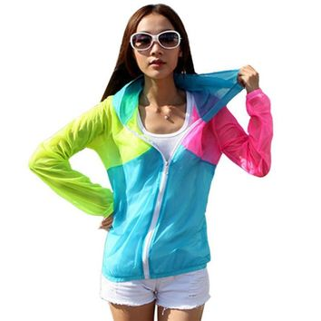 Transparent Color Block Beach Hoodie