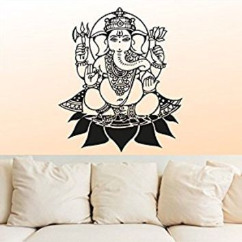 Wall Decal Vinyl Sticker Decals Art Decor Design Elephant Ganesh Indian Buddha Lotos Om God WingsTribal Pattern Yoga Bedroom Dorm (r667)