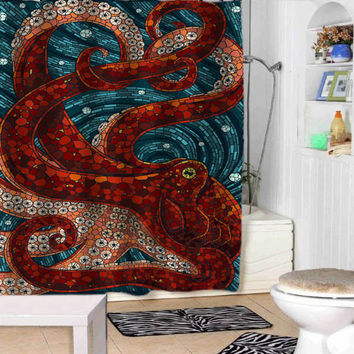 mosaic octopus shower curtains adorabel bathroom and heppy shower.