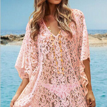 Pink Floral Crochet Deep V Bell Sleeve Cover Up Beachwear