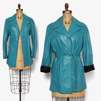 Vintage 70s LEATHER JACKET / 1970s Dusty Turquoise Soft Leather Belted Jacket