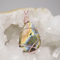 Wire Wrapped Labradorite Pendant, Amulet Pendant, Silver Wrap Pendant, Labradorite Necklace, Spectrolite Pendant, Trending Jewelry, Gift her
