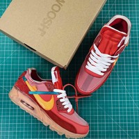 Off White X Nike Air Max 90 University Red Sport Running Shoes - Best Online Sale
