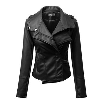 Turn-Down Collar Zipper Design PU Leather Jacket