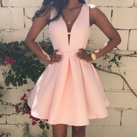FASHION DEEP V PURE COLOR DRESS