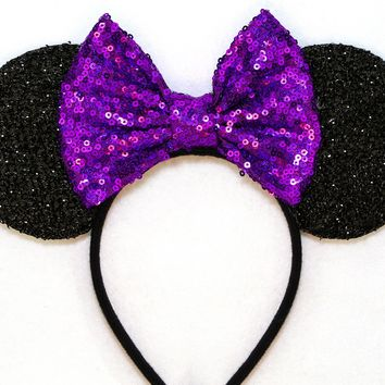 Black Sparkle Mouse Ears with Purple Sequin Bow