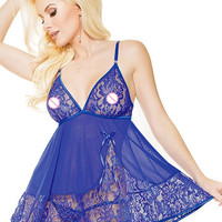 2016 New Sexy lingerie hot Sleepwear  Erotic Lingerie Soft Lace Babydoll with G-string R80158 ajamas For Women One Size and XXL