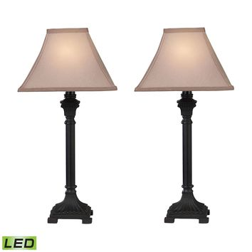D2371/S2-LED Trump Home Woodbury LED Table Lamps in Brown - Set of 2