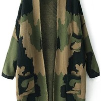 Cool Camouflage Open-Front Long Cardigan - OASAP.com