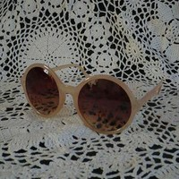 1960's Inspired Oversize Round Circle Nude Sunglasses from 5678sunglasses