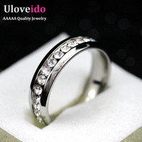 Wedding Stainless Steel Clear CZ Diamonds Ring For Women Men With White Black Crystal Party Unisex Jewelry Bague Anillos YL006