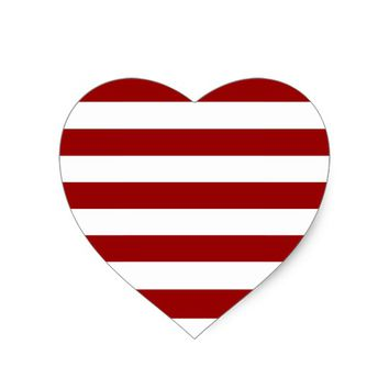 Thick Red and white lines, geometric pattern Heart Sticker