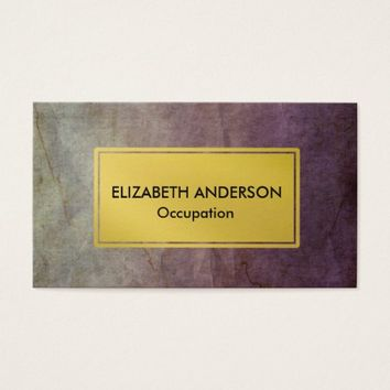 Chic Blue and Purple Distressed Grunge, Gold Business Card