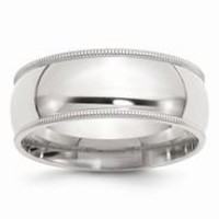 Sterling Silver 8mm Milgrain Comfort Fit Wedding Band Ring