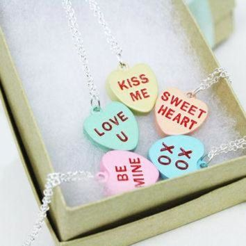 CREYONB Conversation Heart Necklace / Candy Hearts / Valentine's Day Jewelry / Sterling Silver