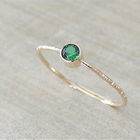 Emerald Ring, Emerald Gold Ring, Faceted Gemstone Ring, Skinny Green Ring, Yellow Gold Ring, White Gold Ring, Engagement Ring
