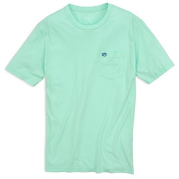 Embroidered Outline Skipjack Pocket Tee Shirt in Offshore Green by Southern Tide