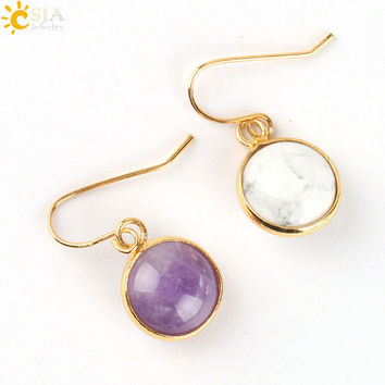 VIP CSJA Vintage Round Red Agate Gemstone Pendant Onyx Bead Gold Plated Cooper Hook Drop Earring Women Holiday Birthday Gift E092