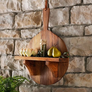 Acacia Wood Round Paddle Shelf, 16 in.