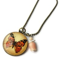 Antique Brass Autumn Butterfly Pink Tulip Glass Pendant Necklace