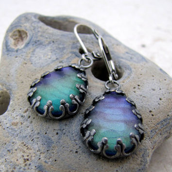 Mystic Peacock  dangle Earrings - Antiqued Silver Teardrop Crown Glass Earrings