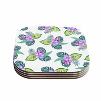 "Sylvia Cook ""Tropical Flowers"" Green Pink Floral Nature Watercolor Digital Coasters (Set of 4)"