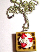 Waffle Neckalce With Strawberrys And Whipcream by adcdmc on Etsy