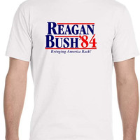 Reagan Bush '84 80's Retro Political Party Republican Fashion Mens T- Shirt