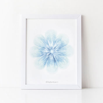 Blue flower artwork, PRINTABLE Baby art print, Light blue Baby room art Pastel blue decor, Nursery room decor Hand drawn Flower illustration