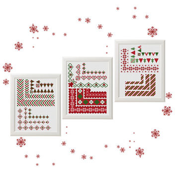 christmas border cross stitch pattern, Set of 19, christmas ornament, merry christmas, modern cross stitch, instant download, PDF