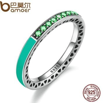 BAMOER 925 Sterling Silver Radiant Hearts Bright Mint Enamel & Royal Green Crystals Women Ring Engagement Jewelry PA7619