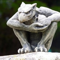 The Protector-Gargoyle with skull-gothic sculpture-cast stone