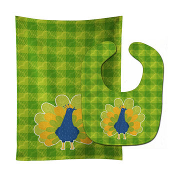 Pretty Peacock Baby Bib & Burp Cloth BB6770STBU