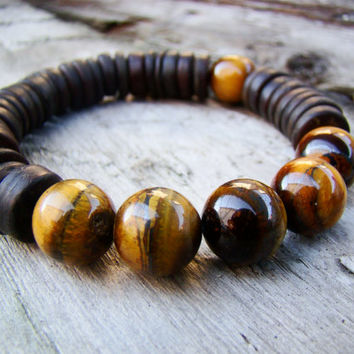 Men's Tribal Bracelet - Beaded Stretch Bracelet - Tribal Tiger Eye Bracelet - Men's Jewelry - Gifts for Him,FREE SHIPPING