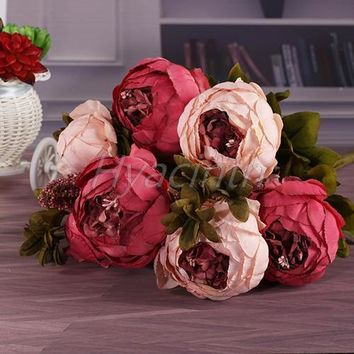 17 color Special price Hight Quality silk flower European Artificial Flower Fall Vivid Peony Fake Leaf Wedding Party Decoration