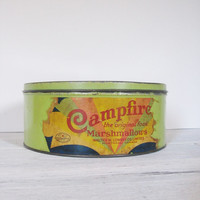 Vintage Campfire Marshmallows Green Tin circa 1930s