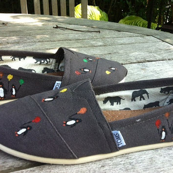 Hand Painted Toms, Penguins Holding Balloons