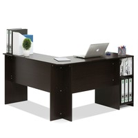 Espresso Corner Desk With Built In Bookshelves For Home Office