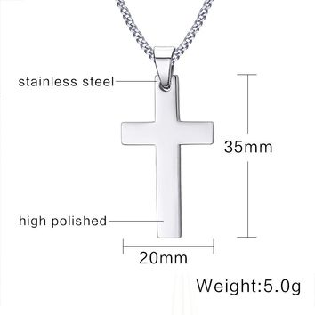 "Classic Men's Cross Pendant Necklace 24"" Stainless Steel Link Chain Necklace"