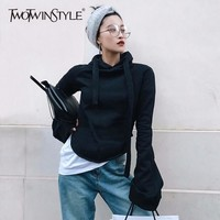 TWOTWINSTYLE Hoodies For Women Sweatshirt Flared Sleeve Pullover Plus Size Black Short Tops Spring Casual Fashion Clothing 2018