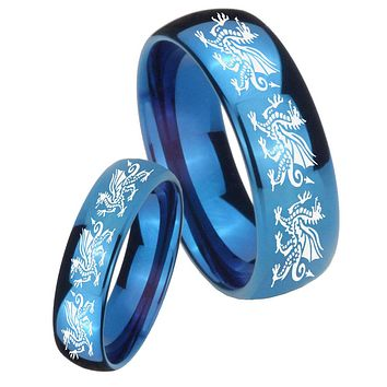 His Hers Mirror Blue Dome Multiple Dragon Tungsten Carbide Wedding Rings Set