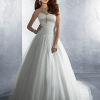 A-line Sweetheart Sleeveless Chapel Train Satin Chiffon Wedding Dresses YSP0059 | $142.90 | Maryswill.com.