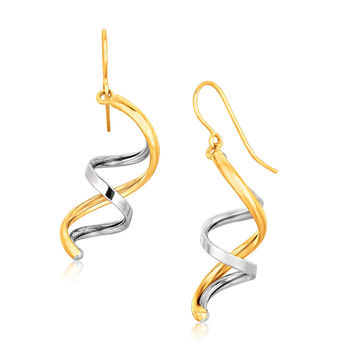 Double Helix Hanging Earrings in 14k Yellow & White Gold