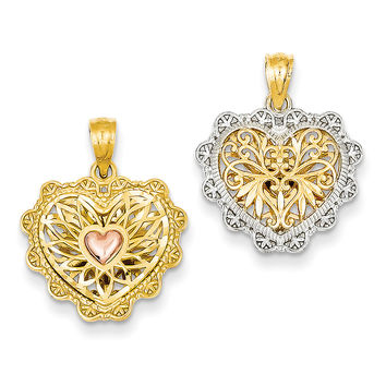 14k Yellow & Rose Gold w/Rhodium Reversible Filigree Heart Pendant C2926