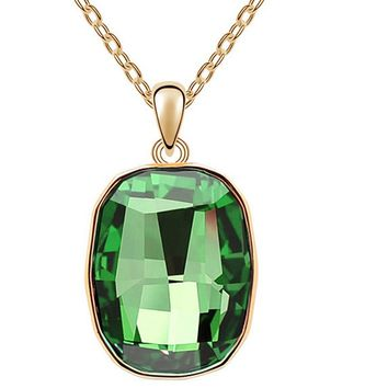 Fashion Big Crystal Square Pendant Necklace For Women