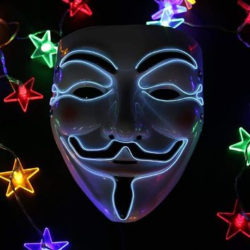 Halloween Mask EL Wire Funny Masks The Purge Election Year Great Festival Cosplay Costume Supplies Party Masks Glow In Dark Macchar Cosplay Catalogue