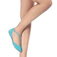 Turquoise Faux Suede T Strap Flats